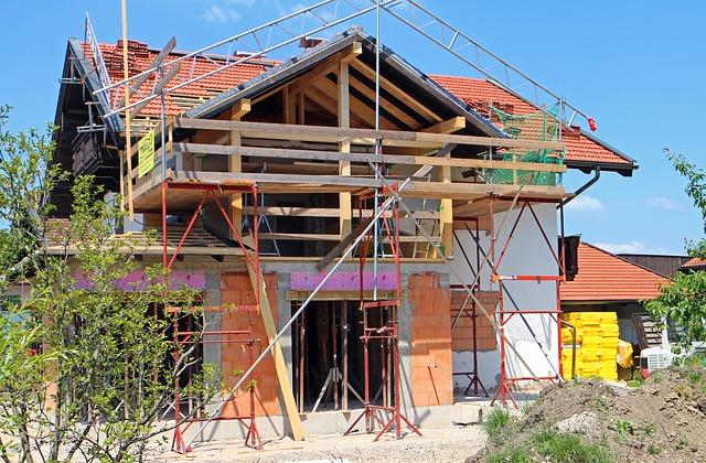 private Baustelle eines Bauherren.